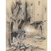Edouard DETAILLE, Combats dans les rues de Sfax, dessin à la mine de plomb, 1882, collection Musée municipal de Sedan